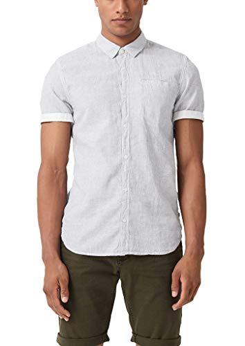 Q/S designed by Herren Extra Slim: Hemd mit Leinen Light Grey Melange M