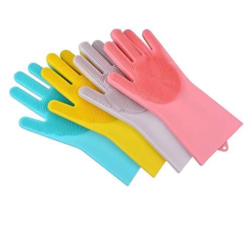 SAFEYURA Magic Silicon Cleaning Kitchen Gloves for Dishwashing, Garden, Car, Bathroom, Silicone Scrubbing gloves (Assorted Colour) -1 Pair