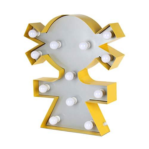 ADM - Niña - Lámpara decorativa de diseño de metal perfilado y soldado que incluye bombillas de led preparada también para fijar en la pared - rojo - H61 cm