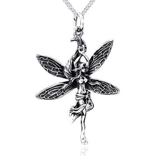 MATERIA 925 Silber Fantasie Kettenanhänger Elfe antik - Silberschmuck Anhänger Fee für Halskette mit Box #KA-59