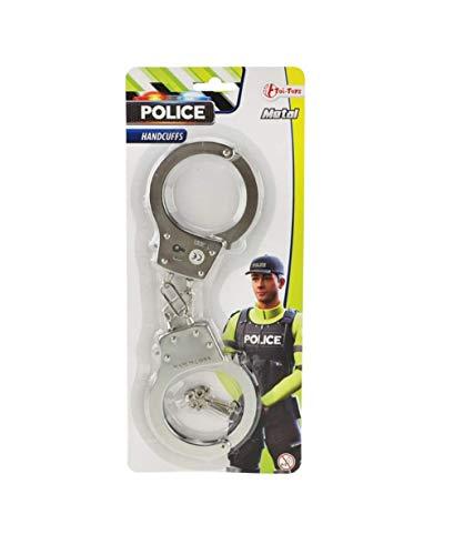 Toi-Toys Polizei Handschellen aus Metall mit Sicherheitsschloss für Kinder und Erwachsene