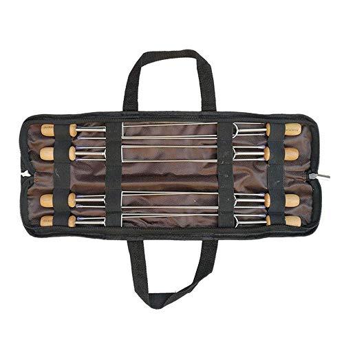 COOLSHOPY Gabeln Edelstahl Grilled Nadel Tragbare Sammlung Tasche Barbecue-Zeichen 35Cm Holzgriff Backen Gabel