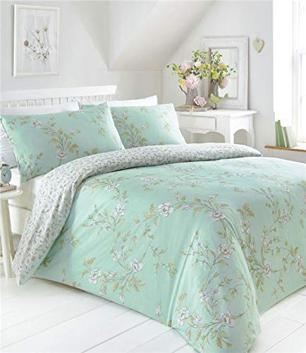 Homemaker Country cottage bedding floral design pretty quilt cover duvet sets (Green,King)