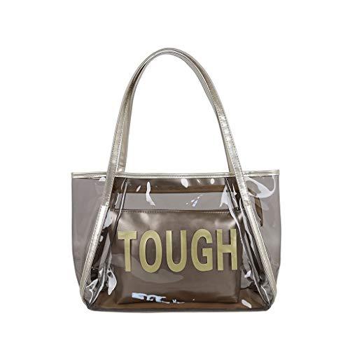 Yuwegr Damen Umhängetaschen Transparent Handtasche Mode Wild Handbag Frauen Schultertaschen Wasserdichte Strand Taschen (Gold)