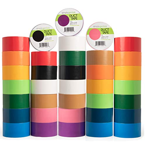 Simply Genius (36 Pack) Patterned and Colored Duct Tape Variety Pack Tape Rolls Craft Supplies for Kids Adults Patterned Duct Tape Colors