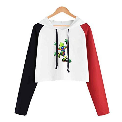 HOSD de y con para Color Bloque Corto Capucha Suéter Mangas Que Imprime Mujer largas