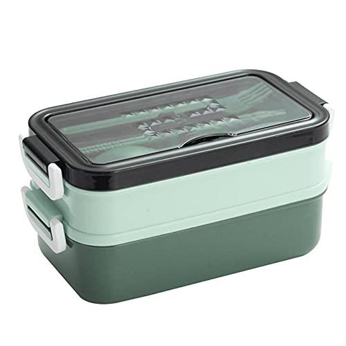 Boîte À Lunch À Deux Compartiments Hermétique, Boîte À Bento en Plastique De Qualité Alimentaire avec Compartiments Und Couverts, Boîte À Repas Va Au Lave-Vaisselle