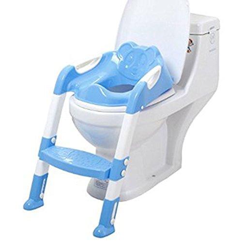 Youkara 1PC Asiento para Bebés con Escalera Niños Asiento de Inodoro Niños Asiento de Inodoro Plegable Silla (Azul)