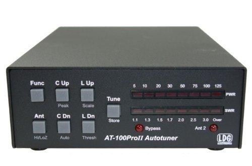LDG Electronics AT-100PROII Automatischer Antennen-Tuner, 1,8-54 MHz, 1-125 Watt, aktualisierte Funktionen umfassen eine LED-Anzeige für die Antennenauswahl und eine LED zur Anzeige der Überbrückung.