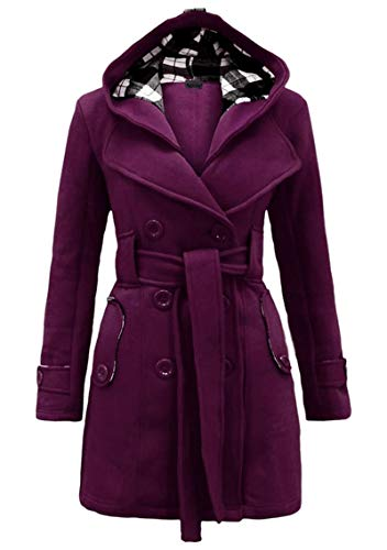 YMING Womens Winter Pea Coat Trench Coat with Hood Casual Pea Coat Winter Double-Breasted Jacket with Belts Purple M
