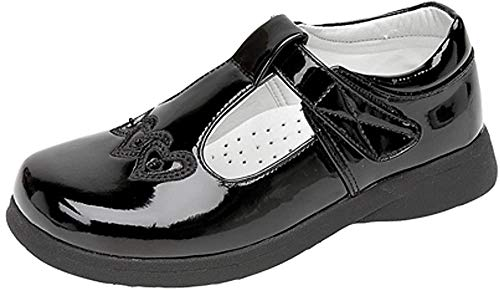 Boulevard Girls Touch Fastening T-bar Shoes, Black,Black Patent, 11 UK