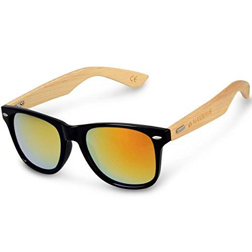 Navaris Gafas de sol UV400 - Gafas de madera para hombre y mujer - Gafas de sol con patillas de madera - Negro y amarillo