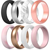 ThunderFit Silicone Rings Wedding Bands for Women 8 Rings (White, Rose Gold, Women Bronze, Women Silver, Pink Mesh, Black, Marble, Baby Pink, 7.5 - 8 (18.2mm)