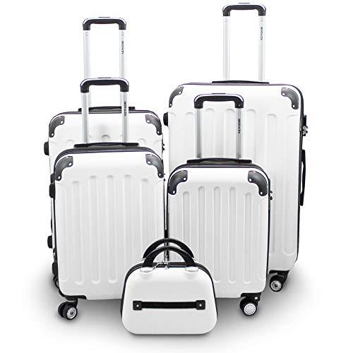 BERWIN Kofferset 5-teilig Reisekoffer Trolley Beautycase Hartschalenkoffer ABS Teleskopgriff (Weiß)