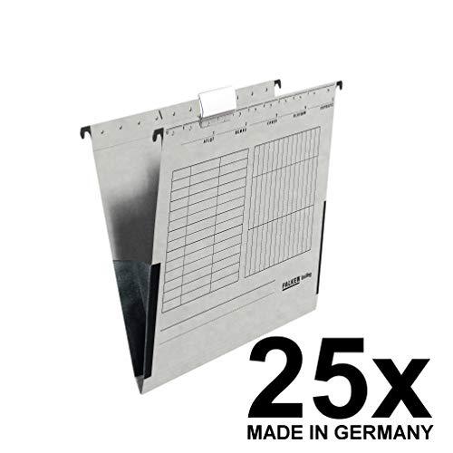 Original Falken 25er Pack Hängetasche UniReg. Made in Germany. Aus Recycling-Karton für DIN A4 mit Leinenfröschen grau Blauer Engel ideal für die lose Blatt-Ablage im Büro und der Behörde