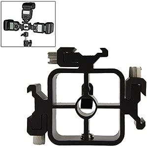 RUNNA Triple Head Hot Shoe Mount Adapter Flash Holder Bracket Light St...
