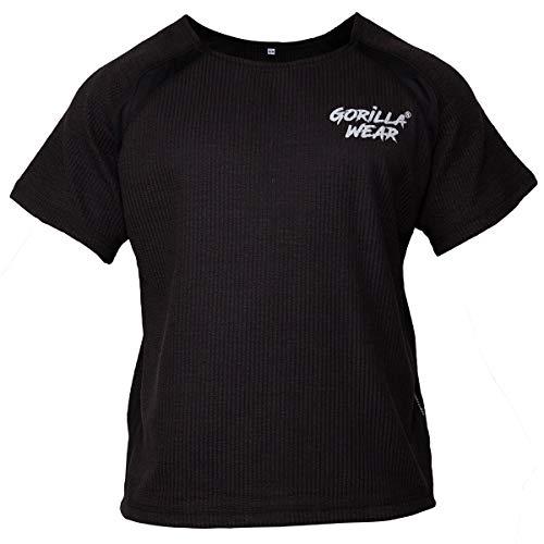 GORILLA WEAR Bodybuilding T-Shirt - Old School Work Out Top Herren - Augustine Rag Top Schwarz 4XL/5XL