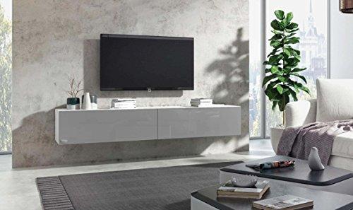 Wuun® TV Board hängend/8 Größen/5 Farben/240cm Matt Weiß- Grau-Hochglanz/Lowboard Hängeschrank Hängeboard Wohnwand/Hochglanz & Naturtöne/Somero