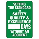 Emedco Safety Tracker Sign – Vinyl, Self-Adhesive, Dry Erase Board   Setting The Standard in Safety, Quality &