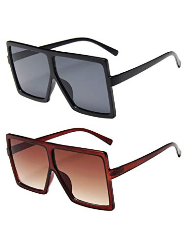 besbomig 2 Paare Oversize Fashion Rechteck Sonnenbrille Vintage Unisex Square Frame Flat Top Brille für Frauen Männer