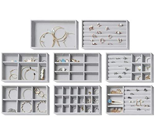 8 cajas de almacenamiento de joyas aterciopeladas,...