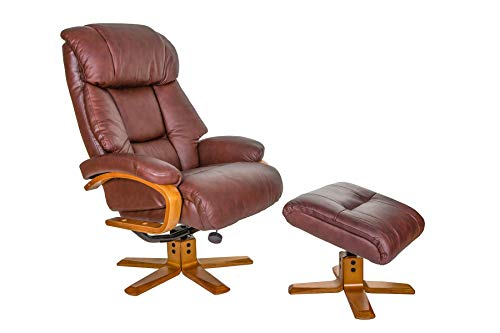 GFA The Nice - Swivel Recliner Chair And Matching Footstool In Chestnut...