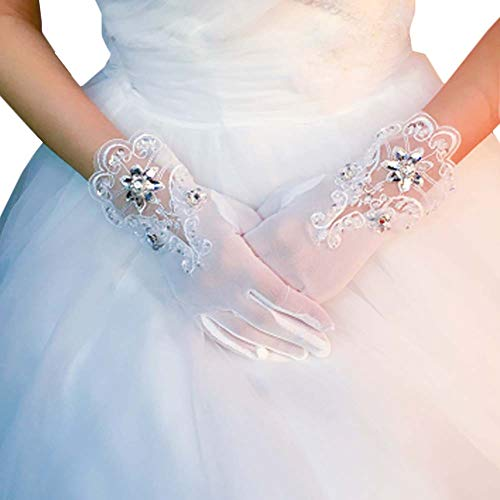 Gants de mariée mariage robes de soirée dentelle gants courts B02