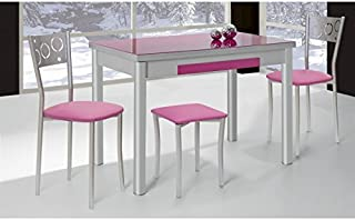 Mesa de cocina extensible 100x60 cm con dos alas y tapa de cristal. Disponible en varios colores