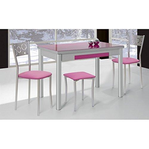 SHIITO - Mesa de Cocina Extensible 100x60 cm con Dos alas y Tapa de Cristal