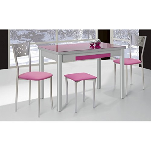 SHIITO Mesa de Cocina Extensible 100x60 cm con Dos alas y Tapa de Cristal