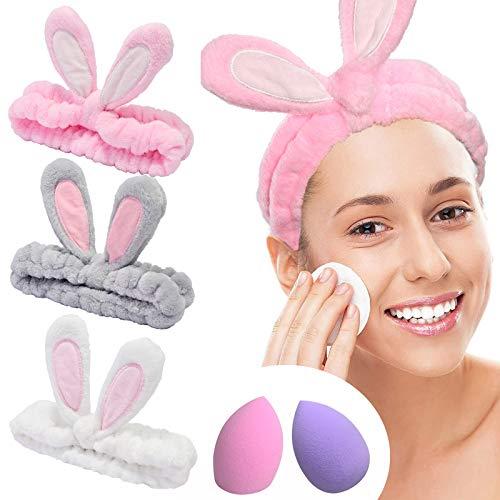 YMHPRIDE Spa Diadema - Diadema de conejo de 3 piezas para niñas, mujeres, encantadora y suave diadema elástica Carol con juego de licuadora de esponja de maquillaje