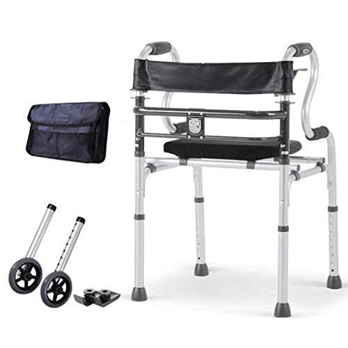 Generic Brands Healthcare Folding Walker with Wheels Seat Brake Lightweight Aluminium Walking Frame Sized for up to 400 lbs Suitable for children and old people