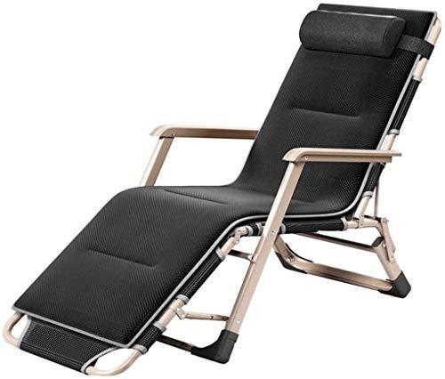 YAOHONG Colchonetas, sillas portátiles, Cojines, Patio Interior y Exterior terraza en el jardín, sillas Plegables de Cubierta Cómodo sillón reclinable (Color : Black)