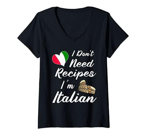 Mujer Divertido italiano Cuchillos Suministros Chef Hat Pasta Pizza Camiseta Cuello V