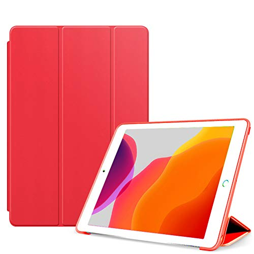 Slim Smart Case for Ipad 10.2 2019 (7Th Generation), Slim Lightweight Trifold Stand, Auto Sleep/Wake Smart Covershockproof Protective Case for Apple 2019 Ipad 10.2 Inch,red