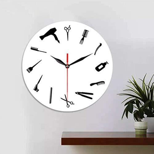 Muium ❤❤❤12-Inch Reloj Creativo Relojes de Pared de Herramientas de peluquería para el Dormitorio Sala de Estar Decorativa con un Reloj Mudo Buena Decoracion de casa/Cocina/Oficina❤❤❤ (Blanco)