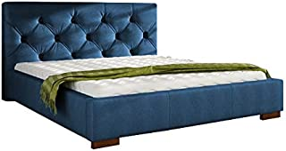 Asghar Furniture - Kushion deluxe Modem Bed - Royal Blue, Super King Without Mattress