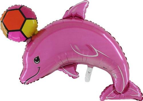 Pak van 3 - 45 inch roze dolfijn met balfolieballon - Opblazen met lucht of helium (CS60)