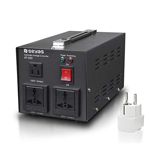 SEYAS 500W Auto Step Up & Step Down Voltage Transformer Converter, 110-120 to 220-240 Volts, Soft Start & Full Load, 7x24hrs Continous Run, Circuit Breaker Protection, U.S. Patent No. US9225259 B2