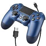 OUBANG Controller Wireless Bluetooth per Playstation 4 Joystick per Gamepad con Cavo USB per PS4 / Windows/Android/iOS, Blu (Midnight Blue)