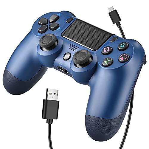 OUBANG Controller Wireless Bluetooth per Playstation 4 Joystick per Gamepad con Cavo USB per PS4   Windows Android iOS, Blu (Midnight Blue)