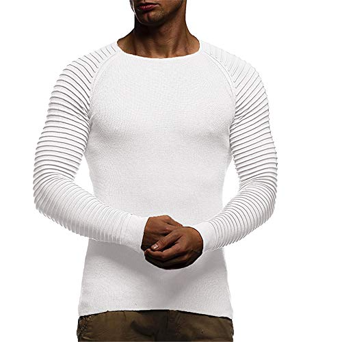YINLAN Mens Casual Stripe Slim Fit Solid Color Pullover Jumper Knitting Knitted Sweatshirt Sportwear Tops Mens Cotton Linen Comfortable Lightweight Outdoor Sweater Blouse For Gym Running Jogging