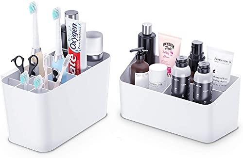 EliveSpm Zahnbürstenhalter 2 Packungen Zahnpastaständer & Badaufbewahrungs-Organizer-Set für Badezimmer (Weiß)