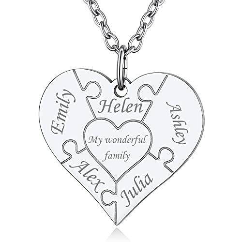 Custom4U Collar con 1/2/3/4/5/6 Nombres Personalizados Colgante Corazón/Redondo Acero Inoxidable 316L para Mujeres Regalo Romántico de Día San Valentín