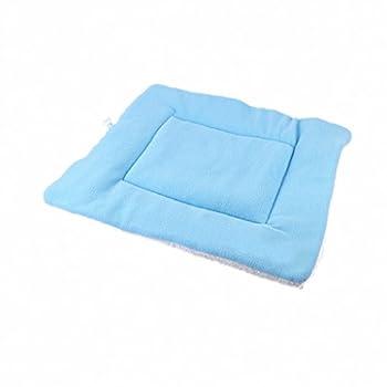 Generic Animal Lit Coussin Carré en Molleton Doux Tapis Couchage pour Chien Chat - Bleu, S