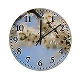 Reloj de Pared de 10 Pulgadas, Relojes de Silencio Que no Hacen tictac, Reloj de Manzano floreciente, decoración del hogar para Sala de Estar y Dormitorio