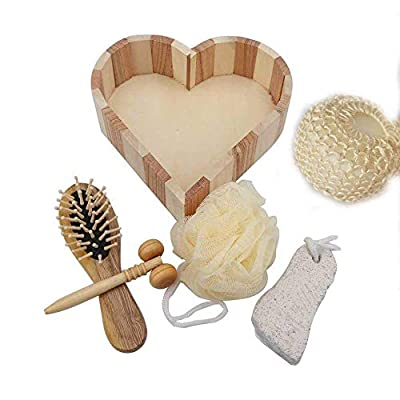 6 PCS PREMIUM bath, body and spa accessories set gift for women and home relaxation. kit included sisal sponge, face massager, hair brush, pumice stone, mesh sponge into wooden heart shaped box