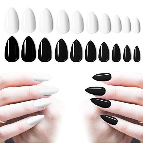 Almond Nails Press On Medium Length, 200PCS Cosics Glossy Black False Nails & White Fake Nail Art Tips with Storage Organizer, Artificial Acrylic Nails Stiletto Shape for Salon, Women Nail Art DIY