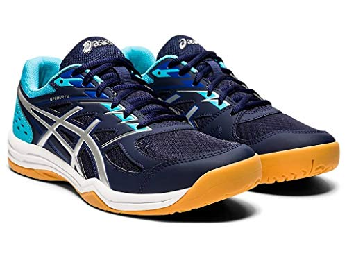 ASICS Men's Upcourt 4 Peacoat/Pure Silver Leather Indoor Court Shoes-10 UK (45 EU) (11 US) (1071A053)