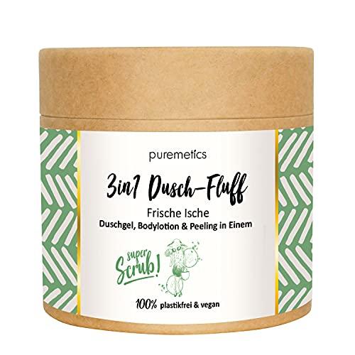 """puremetics 3in1 Dusch-Fluff SUPERSCRUB """"Frische Ische"""" (250g)   Duschgel, Peeling und Lotion in Einem   100% vegan & plastikfrei   mit Salzpeeling"""